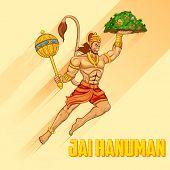 foto of hanuman  - illustration of Lord Hanuman on abstract background - JPG