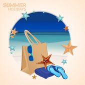 picture of thong  - The illustration of  beautiful realistic beach bag with thongs - JPG