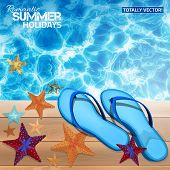 picture of starfish  - The illustration of beautiful summer background with blue water surface and sun reflections - JPG