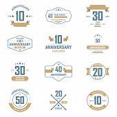 image of ten years old  - Vector set of anniversary signs - JPG