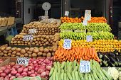 picture of farmers market vegetables  - Fruits and Vegetables at Farmers Market Stall - JPG