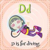 stock photo of letter d  - Flashcard letter D is for diving - JPG