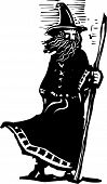 picture of wizard  - woodcut style image of a wizard holding a magic staff - JPG