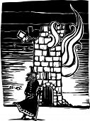picture of wizard  - Woodcut style image of a wizard standing in front of burning castle tower - JPG