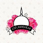 picture of muslim  - Creative mosque with black Eid Mubarak ribbon and pink flowers on seamless background for muslim community festival celebration - JPG