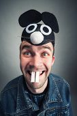 picture of queer  - Strange man with mouse ears - JPG