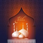 stock photo of eid al adha  - Elegant greeting card with creative beautiful mosque and crescent moon for muslim community festival - JPG