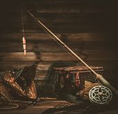 stock photo of fishing bobber  - Fishing tools and pike - JPG