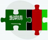image of saudi arabia  - Saudi Arabia and Afghanistan Flags in puzzle isolated on white background - JPG