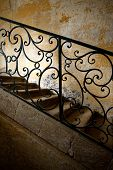 pic of wrought iron  - Wrought iron handrail of and old staircase - JPG