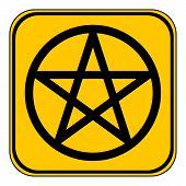 picture of pentagram  - Pentagram button on white background - JPG