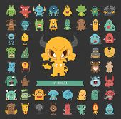 foto of halloween characters  - Set of monster characters poses eps10 vector format - JPG