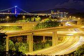 image of tsing ma bridge  - Highway traffic road and tsing ma bridge at night - JPG