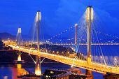 picture of hong kong bridge  - highway bridge at night with traces of light traffic - JPG