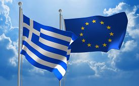 picture of union  - Flags from Greece and the European Union flying side by side for important talks - JPG