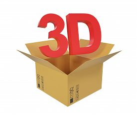 image of text-box  - Open cardboard box with 3D text above the box - JPG