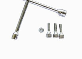 foto of four-wheel  - Car wheel wrench and four wheel bolts isolated on a white background - JPG