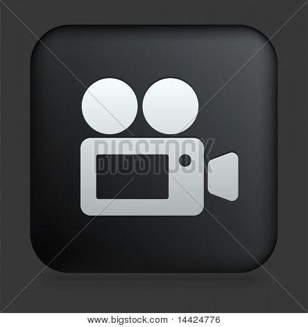 Постер, плакат: Значок камеры кино на площади черный Интернет кнопку оригинальные иллюстрации, холст на подрамнике