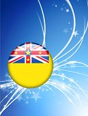 Niue Flag Button on Abstract Light Background Original Illustration