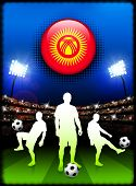 Kyrgyzstan Flag Button with Soccer Match in Stadium Original Illustration
