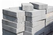 Modern Building Site Gray Concrete Breeze Blocks.