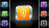 Blood IV Drip Icon on 3D Button with Metallic Rim Original Illustration