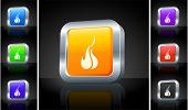 Fire Icon on 3D Button with Metallic Rim Original Illustration