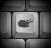 Turkey Icon on Computer Keyboard Original Illustration