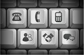 Communication Icons on Computer Keyboard Buttons Original Illustration