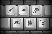 Athlete Icons on Computer Keyboard Buttons Original Illustration