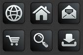 Internet Icons on Square Black Button Collection Original Illustration