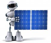 Robot and solar panels