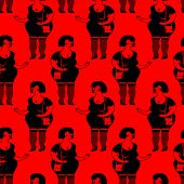 Prostitutes Seamless Pattern. Whore Texture. Cheerful Fat Woman Ornament poster