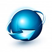 Abstract design, blue sphere and arrow