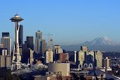 picture of view from space needle  - view of seattle downtown with mount rainier - JPG