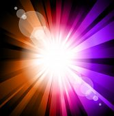 Colorful Ray of  Lights explosion with lens glare effect