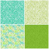 Vector Set Of Seamless Patterns With Green Leaves poster