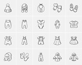 Baby clothes sketch icon set for web, mobile and infographics. Hand drawn baby clothes icon set. Bab poster