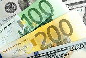 Close Up Notes Real Dollar Euro. Dollar And Euro Notes. Symbol Differences Euro Dollar. poster