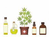Marijuana Plant And Cannabis Oil. Medical Marijuana. Hemp Oil In A Glass Jar. Cbd Oil Hemp Products. poster