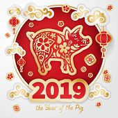Pig Is A Symbol Of The 2019 Chinese New Year. Greeting Card In Oriental Style. Round Frame, Floral E poster