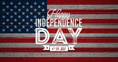 Happy Independence Day Of The Usa Vector Illustration. Fourth Of July Design With Flag On Vintage Wo poster