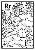 Coloring Book For Children, Colorless Alphabet. Letter R, Rabbit poster