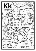 Coloring Book For Children, Colorless Alphabet. Letter K, Kangaroo poster