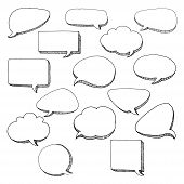 Think Talk Speech Bubbles. Artistic Collection Of Hand Drawn Doodle Style Comic Balloon, Cloud And H poster