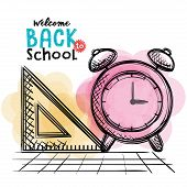 Alarm Clock And Rule Back To School Drawing Vector Illustration Design poster