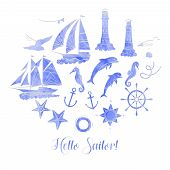 Paper Nautical Background With Sailing Vessels And Wheel. Hand Drawn Elements For Summer Holidays.tr poster