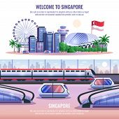 Singapore Horizontal Banners With Modern Metropolis Architecture And Autonomous Unmanned Vehicles An poster