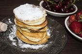 Pancakes. Stack Of Pancakes Topped With Roses Jam Butter. Breakfast.pancakes. Stack Of Pancakes Topp poster