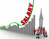 The Graph Of Salary Growth. Graph Of Rapid Growth With Red Word Salary And Rocket. 3d Illustration poster